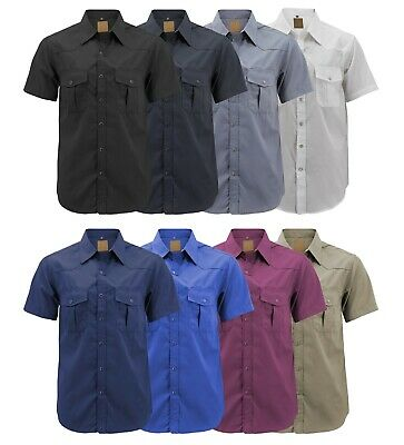 Men's Casual Western Pearl Snap Button Down Short Sleeve Cowboy Dress Shirt