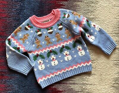 Next Girls Age 2-3 Years Winter Christmas Jumper Knitted Vgc