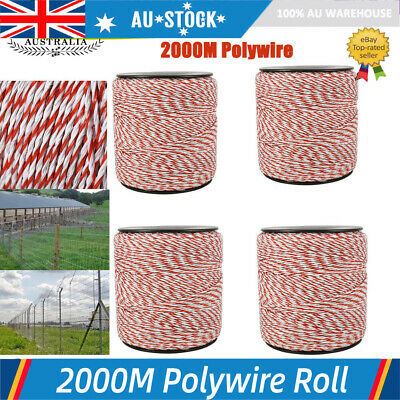 2000M Polywire Roll Electric Fence Energiser Stainless Steel Poly Wire AU STOCK