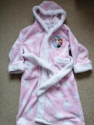 Girls Disney Frozen Dressing Gown Age 5-6 yrs, Pink and White, Super Soft