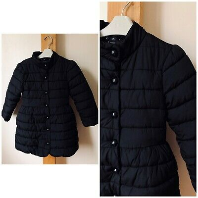Next Girls Age 5-6 Years Black Long Padded Jacket Excellent Condition