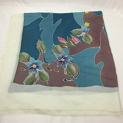 "MAS For BATIK Malaysia Floral SILK Square SCARF 35"" x 35"" pink white blue green"