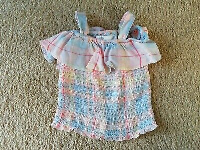 M&S Girls Pink Checked Strapless Top Age 3-4 Years