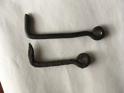 2 Antique Blacksmith Hand Forged Iron Gate Hooks, 6 inch & 41/2 inch