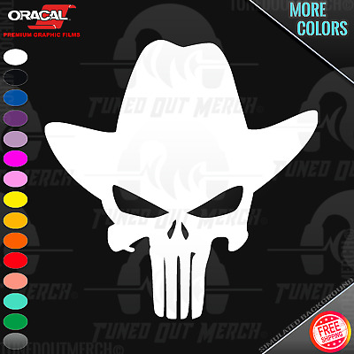 Skull #8 4x4 Cowboy Up Hat Redneck Lifted Truck Car Decal Window Vinyl Sticker