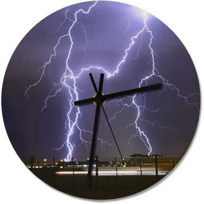 275mm 'Lightning Strike' Large Wooden Clock (CK00009484)