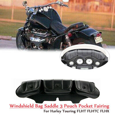 Windshield Bag Saddle 3 Pouch Pocket Fairing for Harley Electra Glide Touring