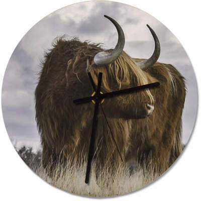 275mm 'Highland Cow' Large Wooden Clock (CK00014242)