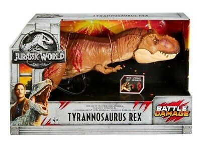 Jurassic World Battle Damage Roarin' Super Colossal Tyrannosaurus Rex New