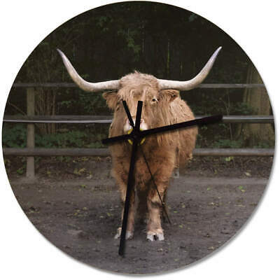 275mm 'Highland Cow' Large Wooden Clock (CK00010888)