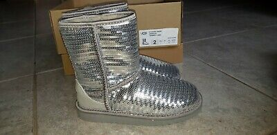 Brand New Girls UGG Boots Silver Sparkle SZ 2