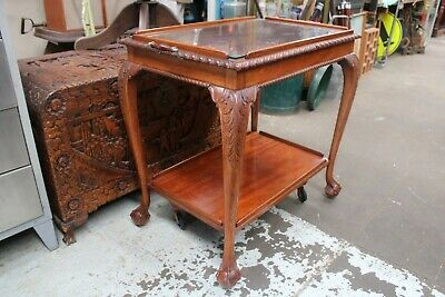 Vintage Antique Claw Foot Auto Trolley Occasional Table Wooden Glass Carved