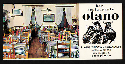 Bar Restaurante Otano Spain Old Advertising Card with Map B217