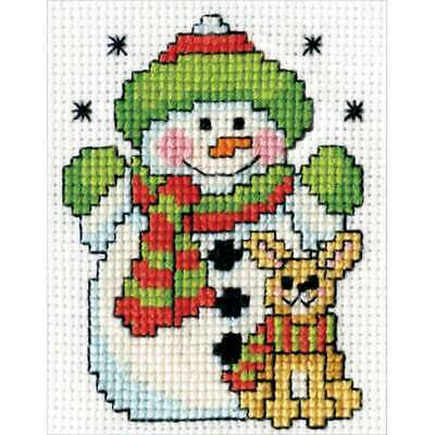 "Snowman W/Frame Mini Counted Cross Stitch Kit 2""X3"" 18 Count 021465005485"