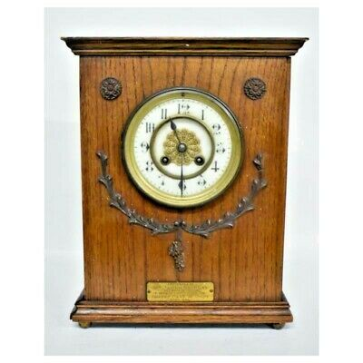 Antique Unique Hand Carved Wood Banking Mantle AD Mougin Clock - Dated 1898