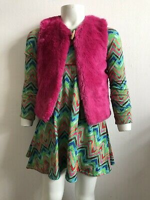 💯% Genuine Little Girls  Oilily Dress &  Faux Fur Gilet Age  5 Years