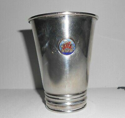 Sweden Norwegian Sterling Silver BEAKER w/Guilloche Enamel Sweden Viking Ship