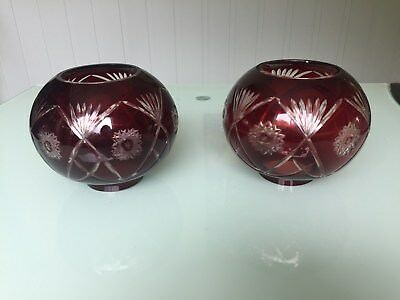 Two Vintage Ruby Cut Glass Oil Lamp Shades