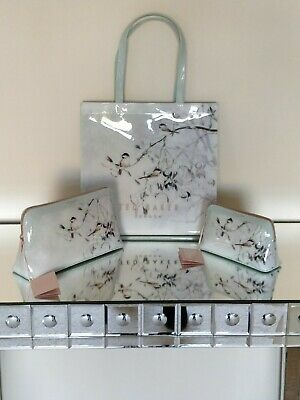 Ted Baker PVC Bags Mistletoe Kiss Birds Print Large Shopper Makeup 3 Piece Set