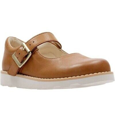 Clarks Girls Crown Honor Tan Leather Shoes Uk Infant Size 10 F
