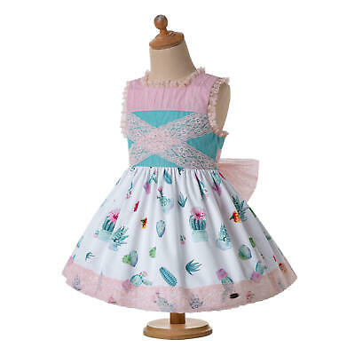 Summer Kids Girl Spanish Frilly Dress Princess Formal Party Prom With Headband