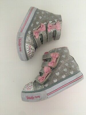 Baby Girls Infant Skechers Twinkle Toes Light Up Trainers Shoes Size UK 4 EU 21