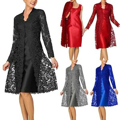 Women's Two Pieces Dress Charming Solid Mother of The Bride Lace Dresses US