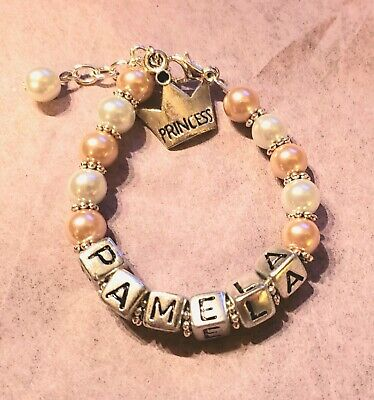 Baby/Girl Personalized Glass Pearl Princess Bracelet