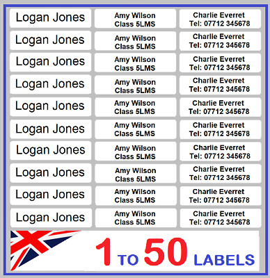 IRON ON LABELS Personalised Name Tags School Uniform Clothes Identity ID lot kid