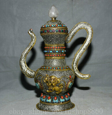 """14"""" Old Tibet Silver Filigree Turquoise Gems Temple Beast Wine Pot Stoup"""