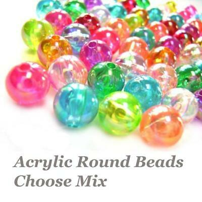 Acrylic Plastic Beads, Smooth Round, Multi-Colour Mix Choose Size