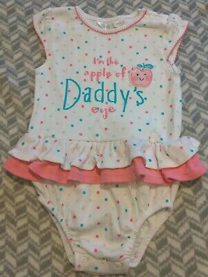 """Baby Girls """"Apple Of My Daddy's Eye"""" summer Romper/playsuit M&Co Age 9-12months"""