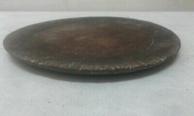 !ANTIQUE PRIMITIVE  VERY OLD WOODEN BOWL ROUND PLATE w DARK PATINA!