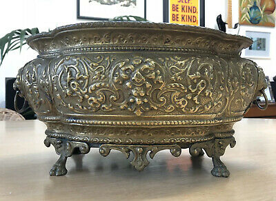 French 19th Century Brass Antique Jardiniere Planter Large Ornate