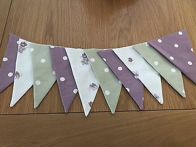LAURA ASHLEY BUNTING  - double sided Grape abbieville ,Grape And Green Polka Dot