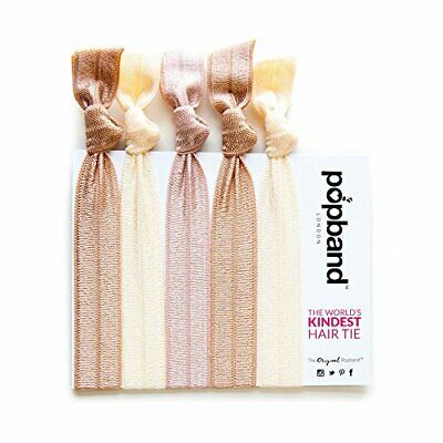 Popband Solid Colour Ponytail Holder Hair Bands//Ties 5 Pack Ink