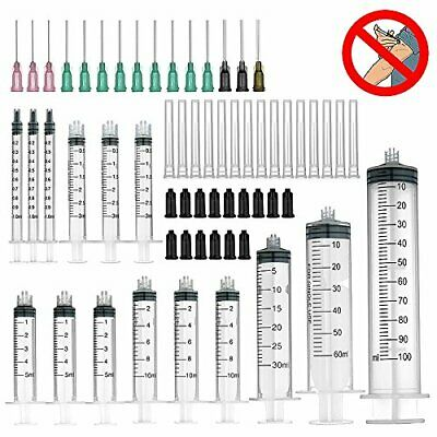 15 Pack 100ml60ml30ml Each 1pc, 10ml5ml3ml1ml Each 3pcs Syringes with Blu