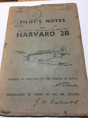 RAF Air Publication AP1691D-PN Pilot's Notes for Harvard 2B 1949 Aircraft KF274