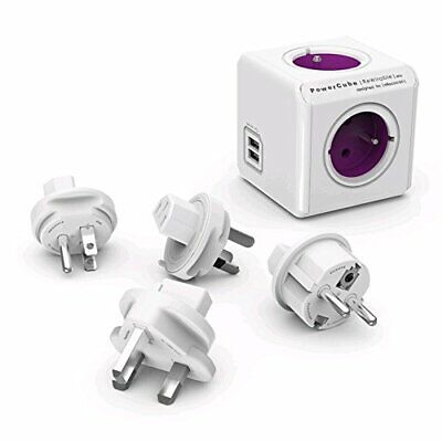 allocacoc PowerCube DuoUSB ReWirable Travel Plugs, 4way Socket with USB 2.1 A,