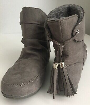 Size 3 Grey Suede Ankle Boots