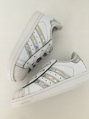 Adidas Baby Girls White Sparkly trainers Shoes size Infant UK 6 EU 23 VGC