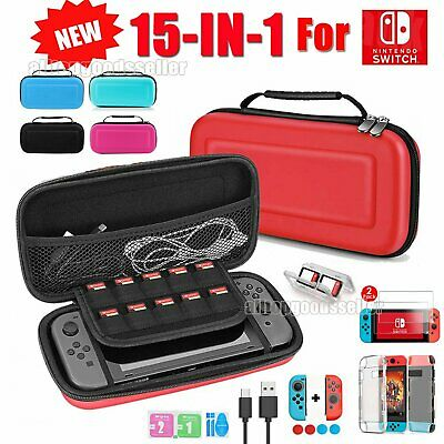 For Nintendo Switch Travel Case Storage Bag+Screen Protector+Cover+Accessories
