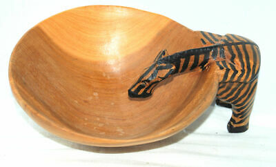 Primitive Hand Carved-Painted Wood Zebra Drinking From Bowl Nut Candy Africa