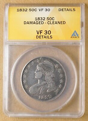 1832 Capped Bust Half Dollar ANACS VF 30 Details