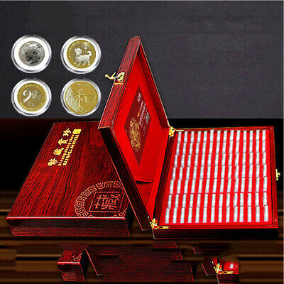 UK Wooden Coins Display Storage Box Case for Collectible Coin With 100 Capsules