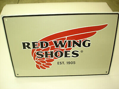 Collectible Red Wing Shoes Embossed Advertising Tin Sign In Good New Condition