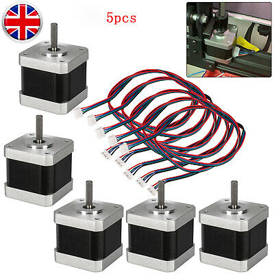 5*Stepping Motors 2-Phase 40mm 1.5A Fit For 3D Printer CNC Part & 5* 1m Cable UK