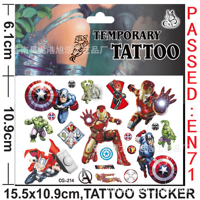 5/10X Kids Avengers Spider Princess Temporary Tattoos Sticker Party Bag Fillers