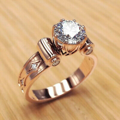 Elegant Rose Gold Filled Rings for Women Jewelry White Sapphire Size 7