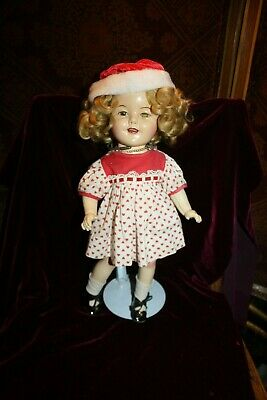 "1930s IDEAL 16"" SHIRLEY TEMPLE DOLL COMPOSITION BODY & VINTAGE OUTFIT Santa hat"
